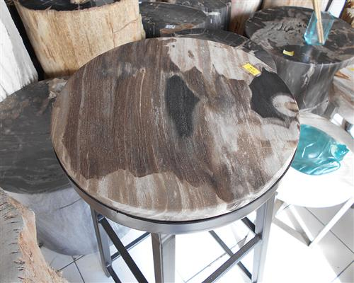 Petrified Wood Round Slab Full Polish with Stand#KN47