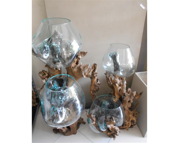 Double Blowing Glass and Wood Diam. 31 - 40 cm#G10