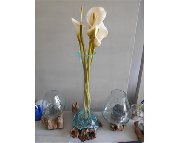 Blowing Glass Vase and Wood Height 50 cm#G15