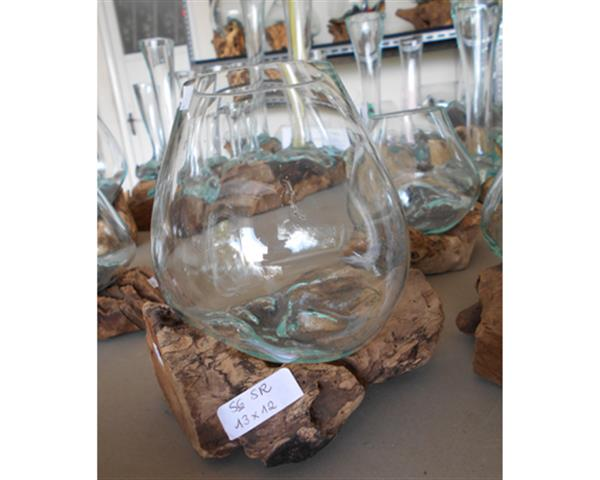 Single Blowing Glass and Wood Diam. 10 - 14 cm#G2