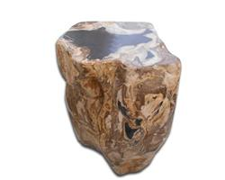 Petrified Wood Round Stool Full Polish#SRFP73